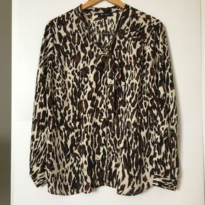 Lily Morgan Blouse Large Button Up Long Sleeve